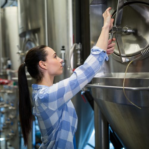 Photo of woman working in a brewery